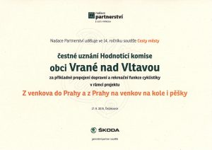 Čestné uznání - cyklostezka Vrané nad Vltavou